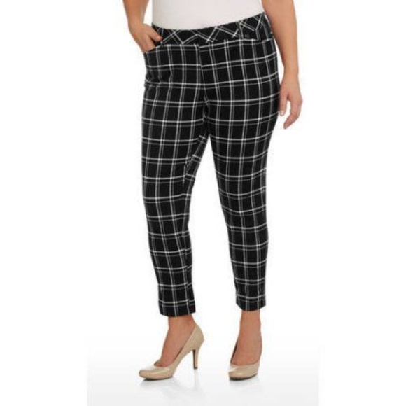 ae16ccbbab7 Faded Glory Pants -  Plus  3X  Pull On Plaid Ankle Jeggings